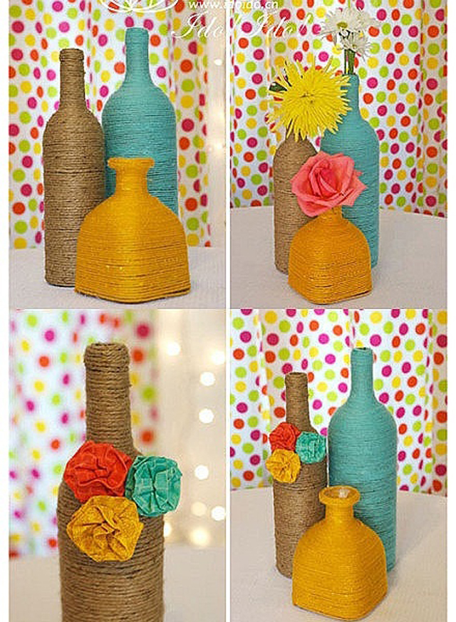 Diy reciclando botellas de vidriodecoraddiction - Decoracion con cuerdas ...