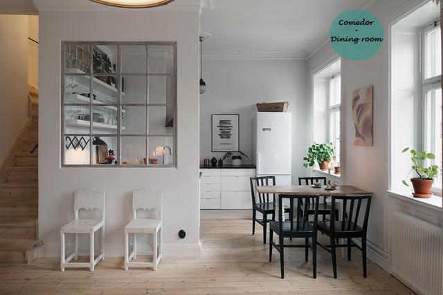 Ático nórdico con toques rústicos - Nordic attic with rustic touches_comedor