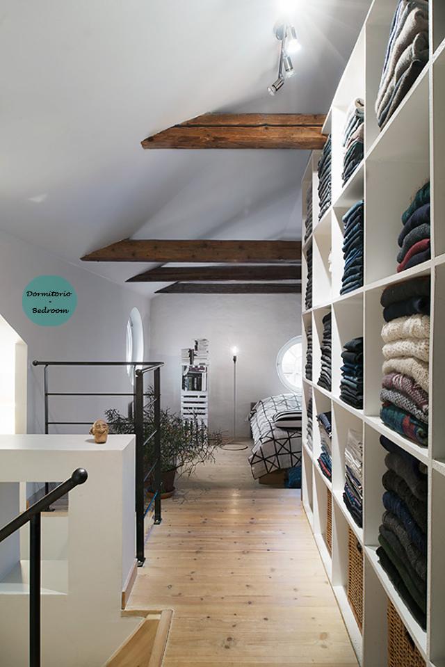 Ático nórdico con toques rústicos - Nordic attic with rustic touches_dormitorio