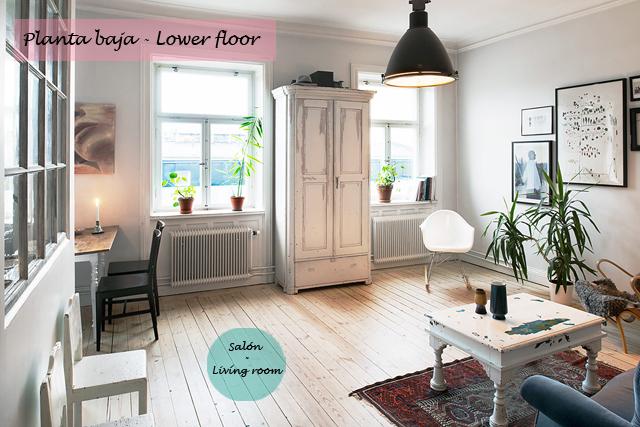 Ático nórdico con toques rústicos - Nordic attic with rustic touches_salon
