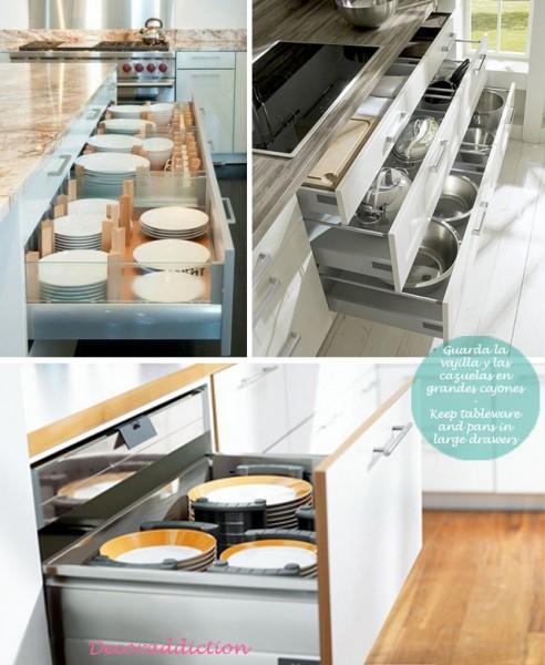 81_Orden*Ideas de almacenaje para la cocina - Organisation*Kitchen storage ideas_guarda la vajilla y las cazuelas en grandes cajones
