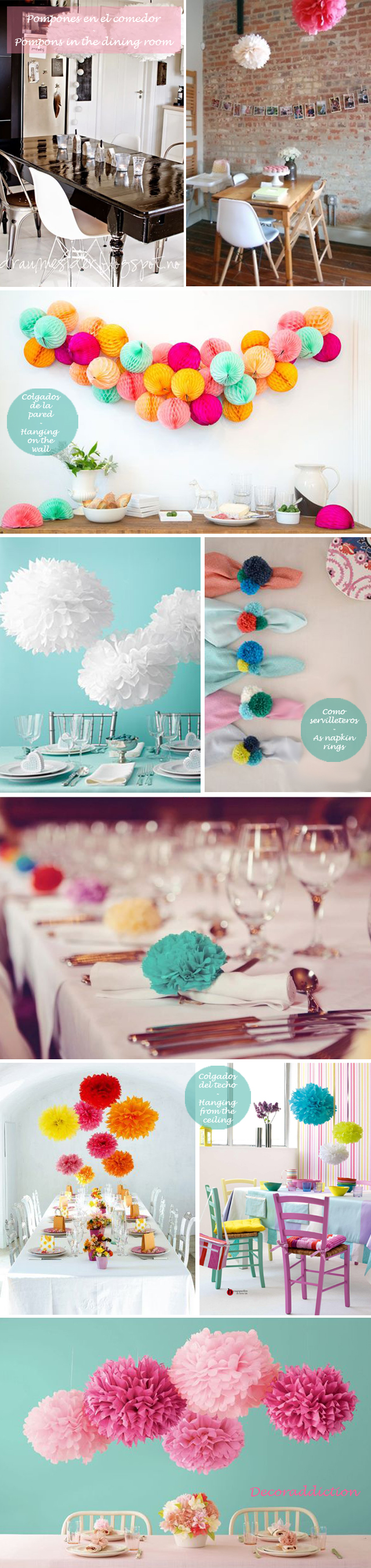 Idea low cost & DIY - Decora con pompones - Decorate with pompons_comedores