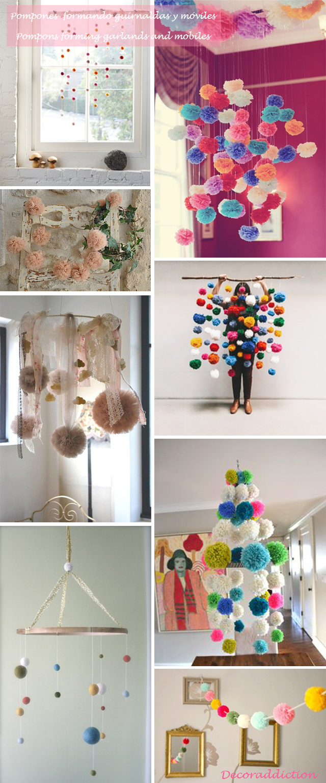 Idea low cost & DIY - Decora con pompones - Decorate with pompons_móviles y guirnaldas