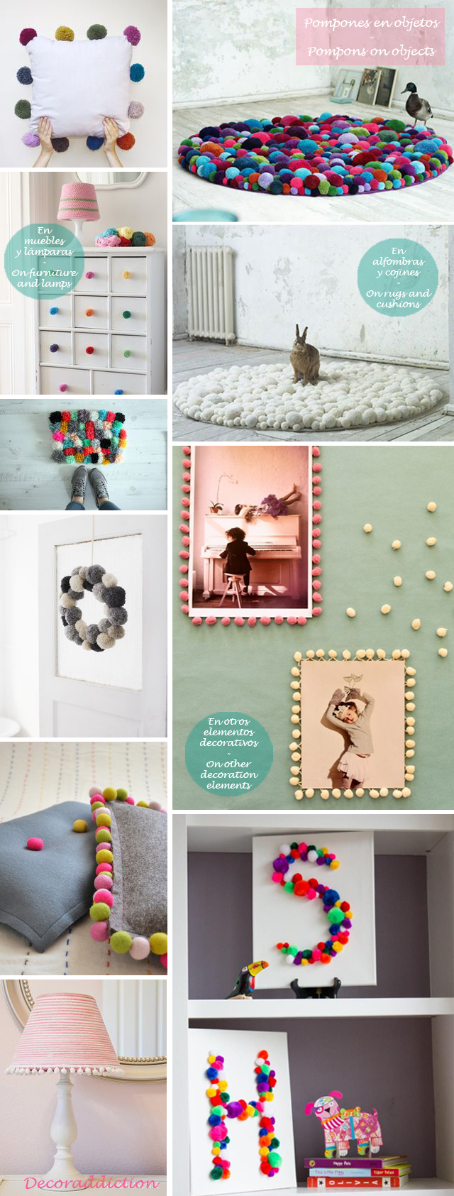 Idea low cost & DIY - Decora con pompones - Decorate with pompons_objetos