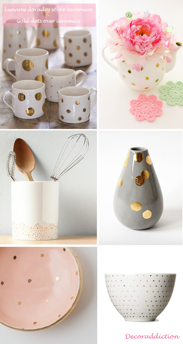 Decorar con lunares dorados hechos por ti - DIY gold dots decorations_ceramica