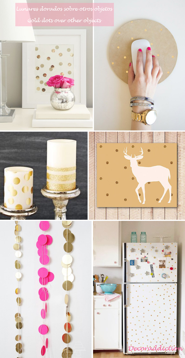 Decorar con lunares dorados hechos por ti - DIY gold dots decorations_otros