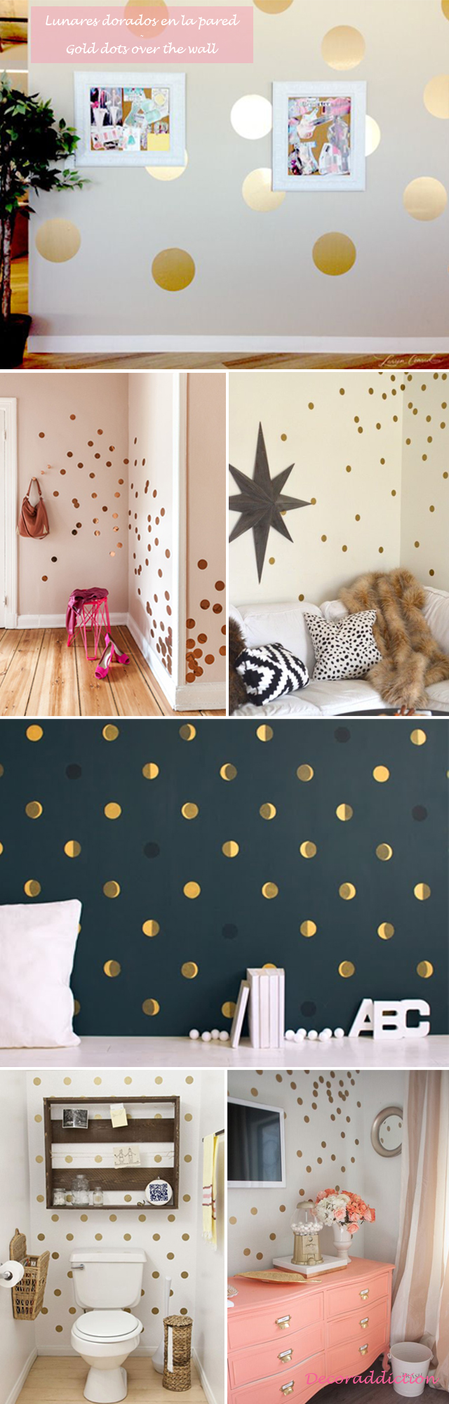 Decorar con lunares dorados hechos por ti - DIY gold dots decorations_paredes