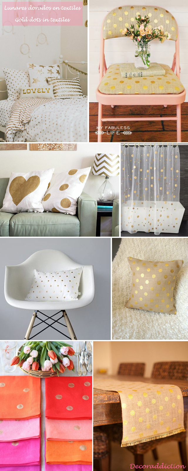 Decorar con lunares dorados hechos por ti - DIY gold dots decorations_textiles