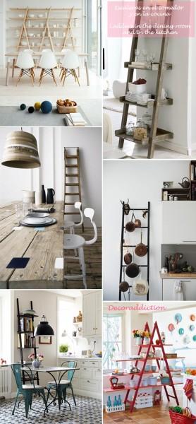 *My new home* Reciclar antiguas escaleras - Recycle old ladders_comedor y cocina1